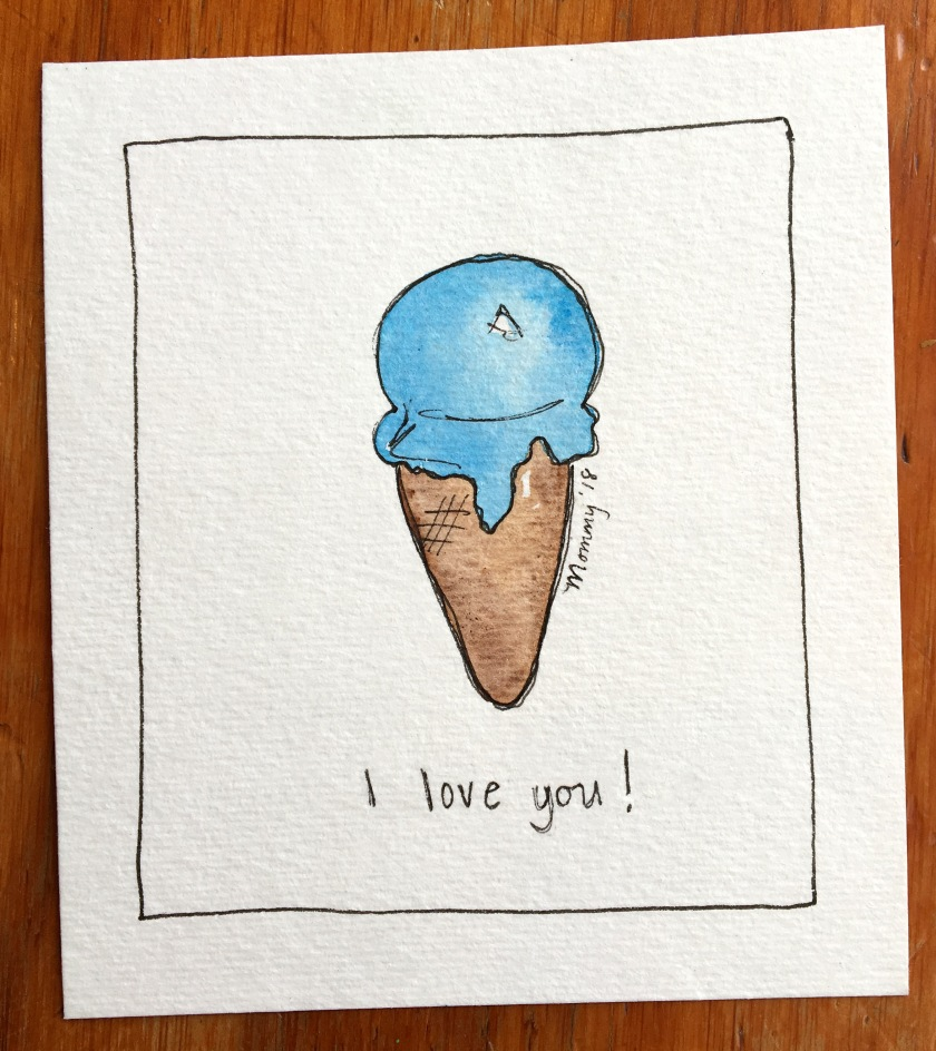 Ice Cream Watercolor Illustration Card
