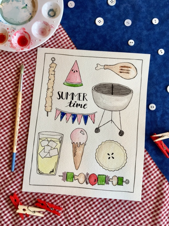 Patriotic Summer Time Free Printable from mamasbrush | grilling, kababs, lemonade, watermelon and other summer time goods!